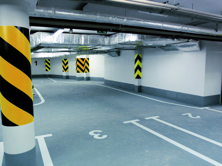Subterranean garage with markings