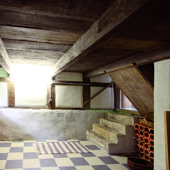 Cellar with wooden ceiling